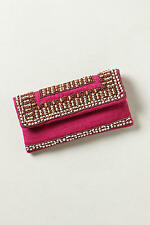 New  Anthropologie Sold Out in Stores $98 Beaded Bombay Clutch by Moyna in Rose