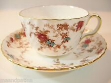 FOUR ANCESTRAL MINTON CUPS AND SAUCERS HP CRANBERRY AND TURQUOISE FLOWERS WHITE