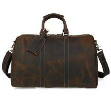 ae36cada5479 TIDING Crazy Horse Leather Travel Suitcase Mens Vintage Trip Luggage Duffle  Big