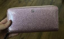 💚 Kate Spade Neda Glitter Mavis Street Large Continental Wallet Rose Pink NWT