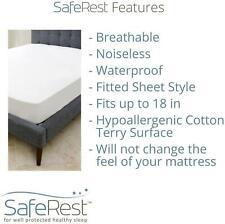 SafeRest Premium Hypoallergenic Waterproof Mattress Protector- Vinyl Free- Queen