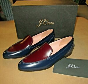 J. Crew Modern Academy Two-Tone Leather Loafers Size 9M Navy NIB