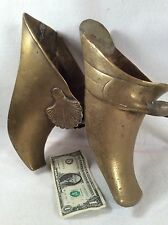 Vintage Heavy Bronze Shoes Decoration Lot Of 2