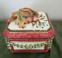 Fitz and Floyd Classics Handcrafted Ceramic Porcelain Trinket Box Burgundy Leaf