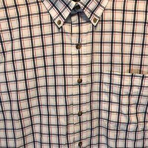5XLT Harbor Bay button down short sleeve shirt men's  Blue Red Green Plaid Shirt