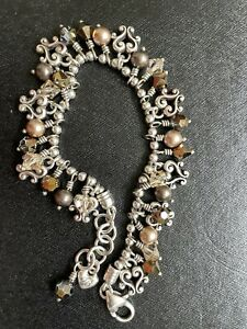 Brighton Charm Bracelet Love Heart And Brown Beads.
