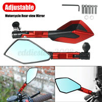 2x 8mm 10mm CNC Motorcycle Rearview Mirror Short Rod Accessories Red Replacement