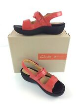 Clarks Artisan Unstructured Un.Harvest Sandal Sz 10 Red Leather Comfort Support
