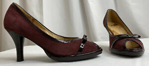 Sofft Womens Shoe High Heel Peep-toe Burgundy Maroon Brick Mahogany Suede Pump 6