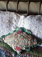 Antique YOYO  Quilt PINWHEEL PILLOW 1920's So Sweet!