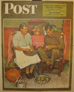 1945 SATURDAY EVENING POST Norman Rockwell THANKSGIVING Poster - Soldier WW 2