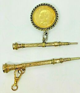 2 x 9ct Gold Victorian Mechanical Pen Pencil With Young Victoria 4 Pence Coin