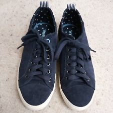 White Stuff Navy Blue Suede /Suede Effect Trainers Pumps Size 5 Polka Dot Detail