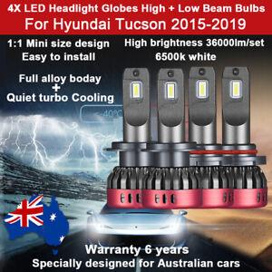 For Hyundai Tucson 2016 2017 4x Headlight Globes High Low Beam 36000lm LED Bulb