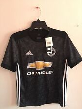 Adidas Manchester  United Away 2017-18 jersey Black White Size YL Boy's Only