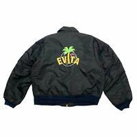 Evita Mr Specs Bomber Style Quilted Embroidered Jacket | Vintage 90s Black VTG