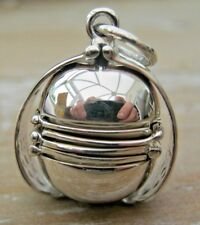 More details for english hallmarked sterling 925 silver folding photo ball locket pendant fob