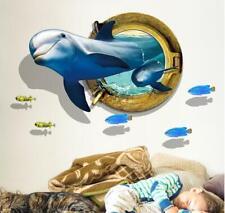 Wall decal Sticker Ceiling Floor Dolphin 3D living room bedroom Bathroom Toilet