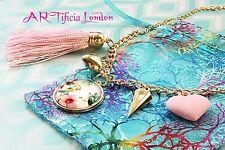 Precioso collar de encanto Pájaro Amor Corazón Rosa con Borlas Joyería Kawaii Tono Oro