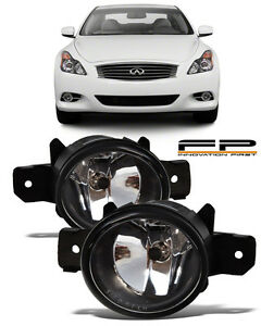 For 2011 Infiniti G37 Coupe Front Replacement Fog Lights Housing Clear Lens Pair