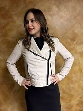 Rachel Roy White Leather Motorcycle Zip Up Jacket Women's Size Small