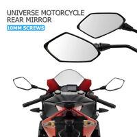 Universal 10mm Motorcycle Motorbike Bike Scooter Rear View Mirrors Black Pair