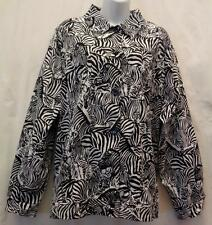 *Alfred Dunner Jacket Coat 24W Black Womans Stretch Zebra Stretch Plus Pockets