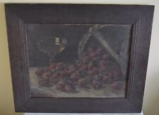 Antique Strawberry Basket Wine Fruit Still Life Oil on Board Turn of the Century