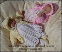 "BABYDOLL HANDKNIT DESIGNS KNITTING PATTERN B59 LACY DRESS SET FOR 7-12"" DOLL"