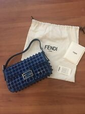 Womens Fendi Blue Studded Snake Limited Edition Baguette 100% Authentic
