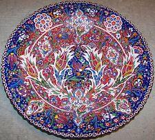 "16"" (40cm) Turkish Iznik Raised Tulip & Floral Pattern Handpainted Ceramic Plate"