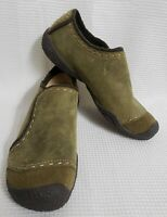 KEEN Green Suede Leather Slip On Slides Mules Shoe sz 7 Women's