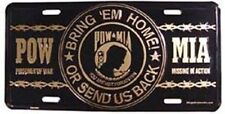 Aluminum Military License Plate POW MIA NEW Bring 'em Home or Send us Back gold