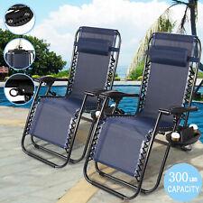 2 Folding Recline Zero Gravity Chairs Garden Lounge Beach Camp Portable W/Trays