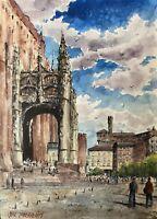 """Watercolor Original Painting  11"""" x 15""""  Albi,France"""