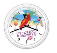 5 o'clock Somewhere Tropical Parrot Wall Clock Daiquiri Margarita - GIFT