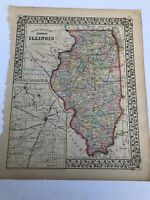 Antique Augustus Mitchell 1871 Map the State of Illinois