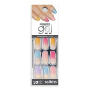 Nailbliss Professional Gel Nails Glue On Long Length Coffin Shape