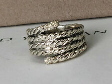 David yurman Silver Willow Serpent Ring with Diamonds, 6.5