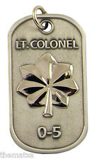"""AIR FORCE LT. COLONEL 0-5 ENGRAVABLE REGULATION MILITARY METAL DOG TAG 24"""" CHAIN"""