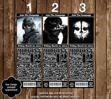 Call of Duty Ghost Birthday Party Ticket Invitations - 20 Printed W/envelopes