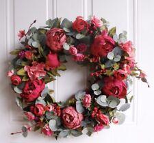Luxury Artificial Door Wreath Handmade Peony, 40cm, Spring, Easter, Summer