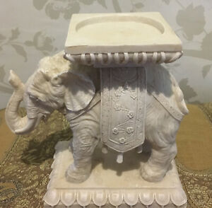 """Large Elephant Tea Light Candle Holder White Cold Cast Resin 7"""" High X 7.5"""" Long"""