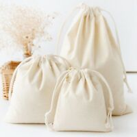 Cotton Linen Drawstring Sack Bag Food Clothes Outdoor Travel Casual Hand Bag Lot