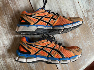 ASICS Gel-Kayano 19 mens trainers running orange black shoe laces size 41.5 / 7