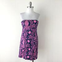Lilly Pulitzer Originals Xs 2 4 Pink Blue Strapless dress Cocktail Resort EUC