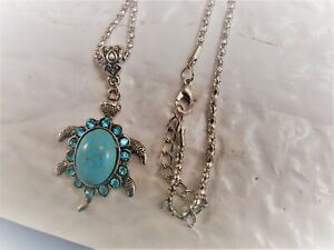 betsey johnson silver chain with turquoise turtle necklace.
