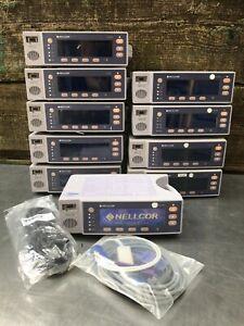 Nellcor OxiMax N-595 Pulse Oximeter, NEW battery & SpO2 Sensor w/ Extension