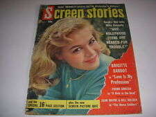 VINTAGE SCREEN STORIES MAGAZINE, AUGUST, 1959, SANDRA DEE COVER, BRIGITTE BARDOT