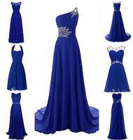 Plus Size New Royal Blue Chiffon Wedding Bridesmaid Dresses Evening Formal Gowns